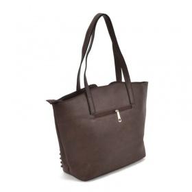zadná strana šedej dámskej kabelky cez rameno.