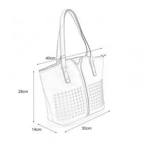 rozmery šedej dámskej kabelky uvedené v popise na obrázku.