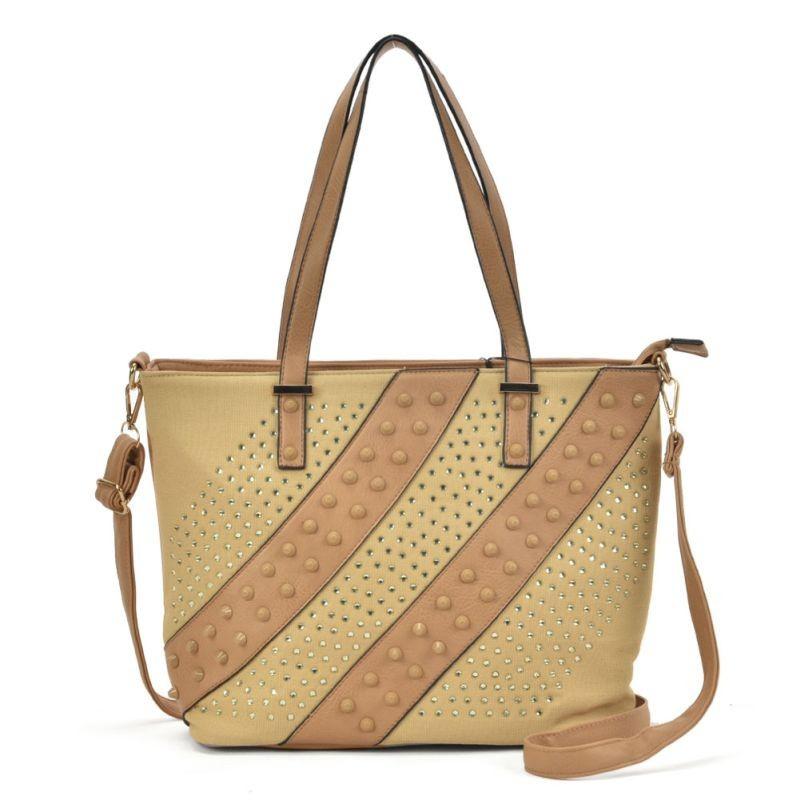žlto hnedá dámska kabelka s praktickými ramienkami na nosenie kabelky na pleci.