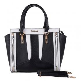 Čierna dámska kabelka do ruky. Biely vzor PATCHWORK.