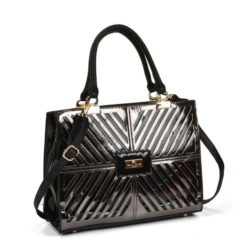 Čierna dámska metalická kabelka.