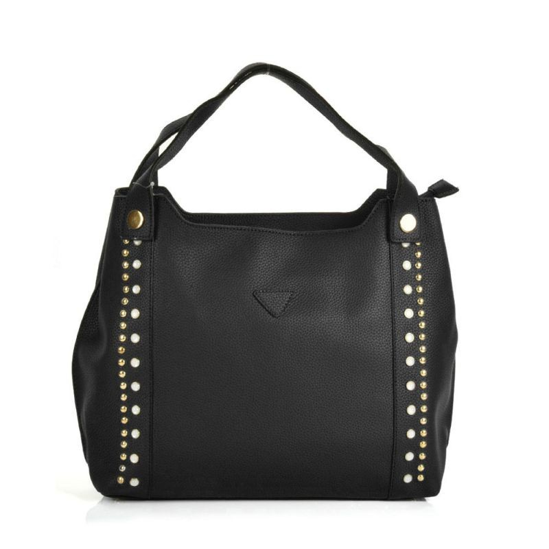 Čierna dámska kabelka na rameno, veľký odkladací priestor, zlaté ozdoby.