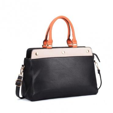 7d4b910dcb61 Čierna kabelka s oranžovou rúčkou