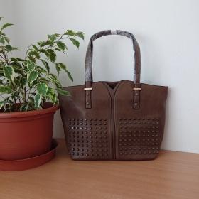 Dámska šedá kabelka na rameno - Shopper taška