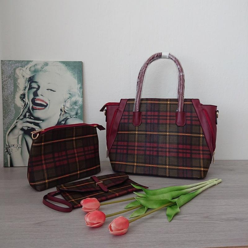Červená dámska kabelka 3 dielny SET