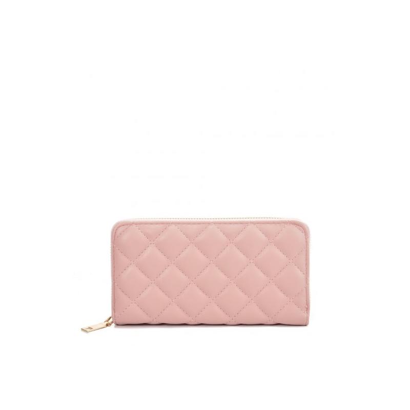 Ružová dámska peňaženka so štvorcovým vzorom
