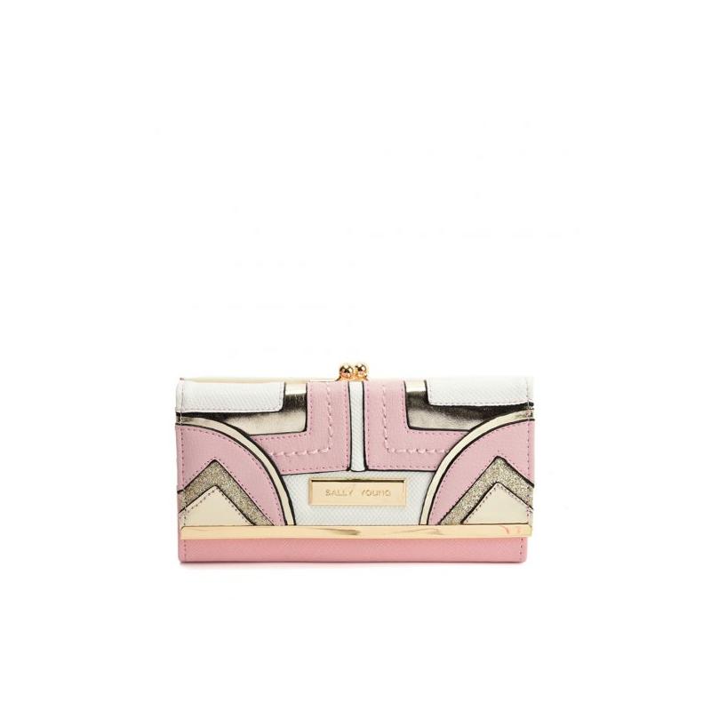 ružová dámska peňaženka so zlatým lemovaním