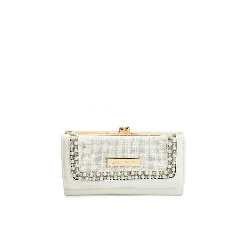 biela dámska peňaženka s perličkami
