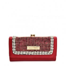 červená dámska peňaženka s perličkami
