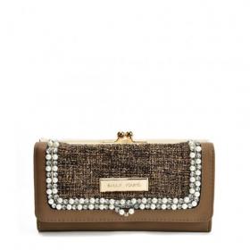 Hnedá dámska peňaženka s perličkami