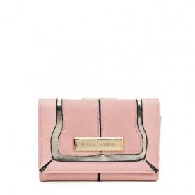 ružová dámska peňaženka so strieborným lemovaním