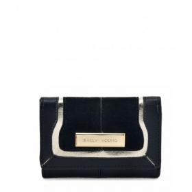 čierna dámska peňaženka so strieborným prúžkom a zlatou plaketou