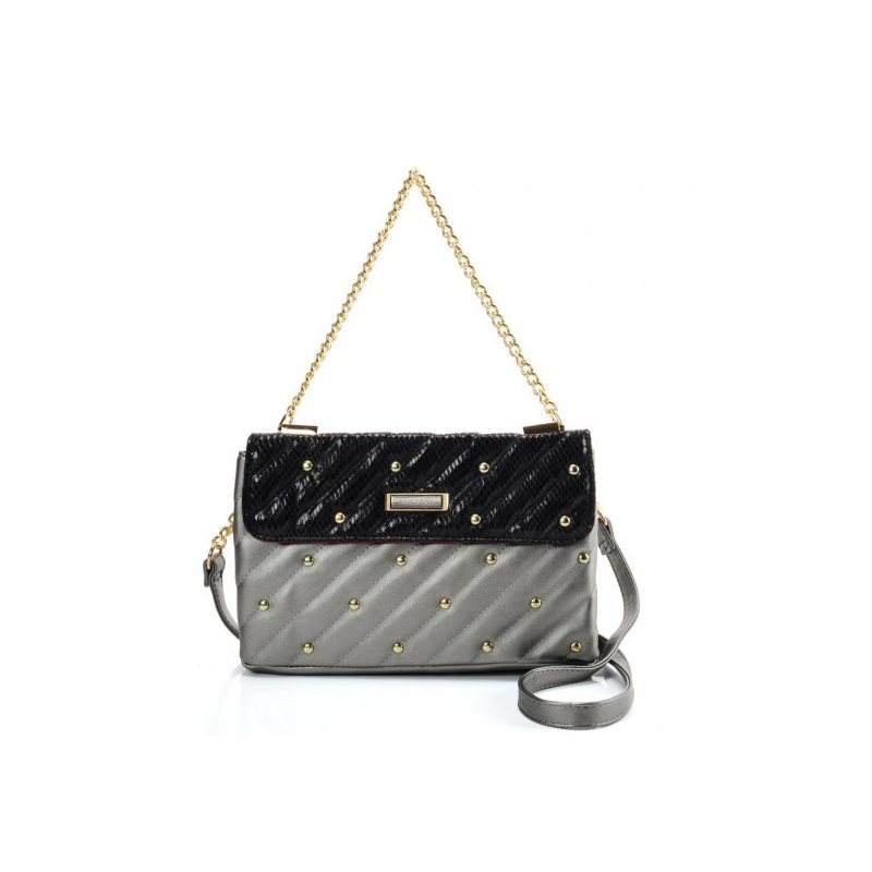 Strieborná dámska kabelka so zlatou rúčkou