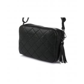 čierna kožená dámska crossbody kabelka