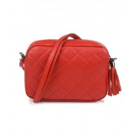 červená kožená dámska crossbody kabelka CRB