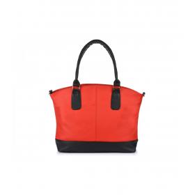 Veľká červená dámska kožená kabelka