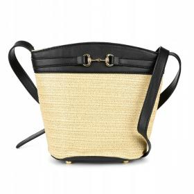 čierna dámska prútená kabelka na leto SUNNY