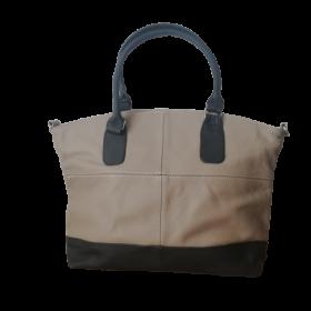 Veľká béžová kožená dámska kabelka RENY