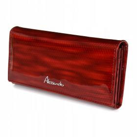 lakovaná červená kožená dámska peňaženka
