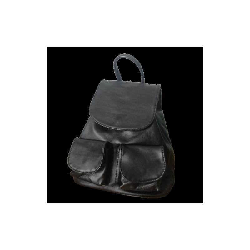 Kožený ruksak dámsky čierny Klasik