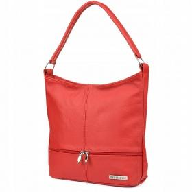 Červená kožená kabelka Beltimore DUO