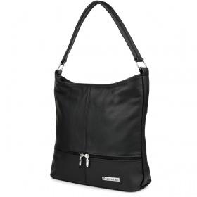 Kožená kabelka Beltimore DUO - čierna