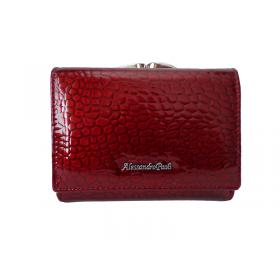 Červená kožená lakovaná peňaženka Alessandro