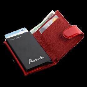 Peňaženka kožená na karty - červená