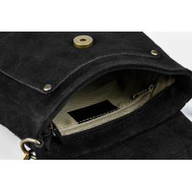 Semišová kožená kabelka - čierna