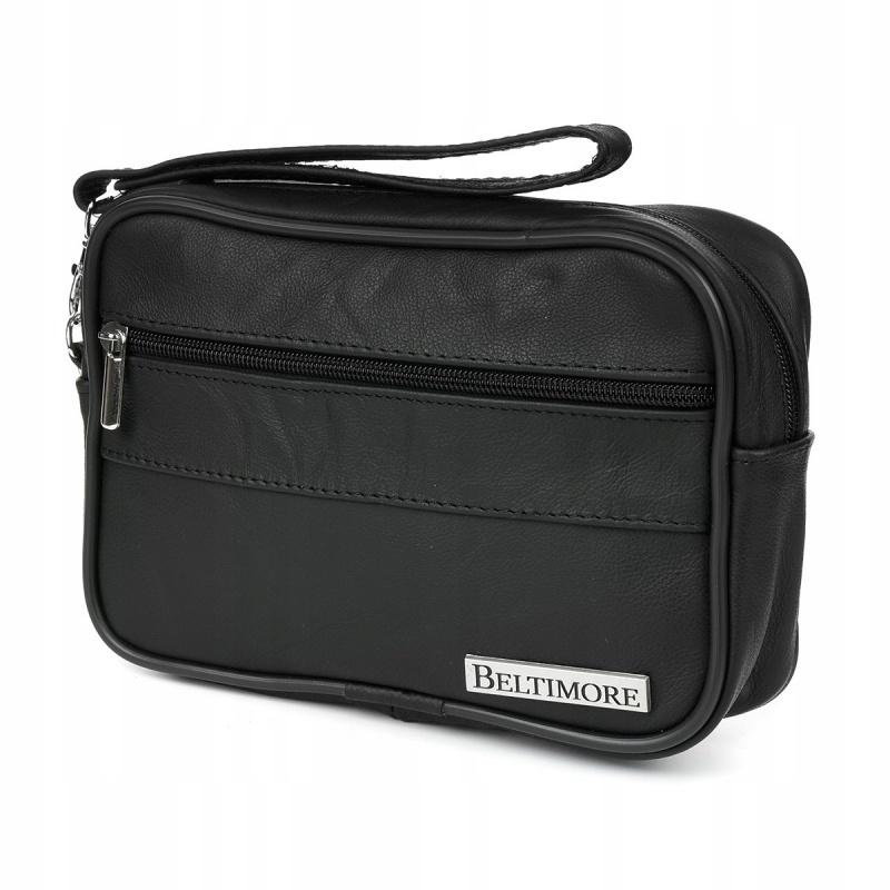 Pánska kožená príručná taška - čierna