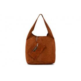Semišová kožená kabelka na rameno NATALY