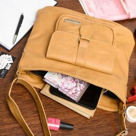 Hnedá Kožená kabelka KLASIK BELTIMORE