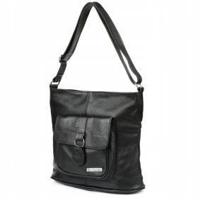 Čierna kožená kabelka KLASIK BELTIMORE