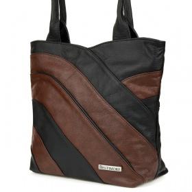 Dámska hnedá kožená kabelka LINIA