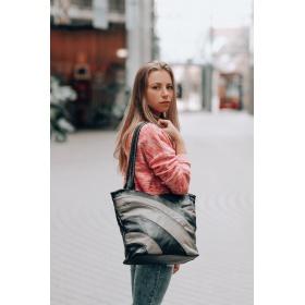 Dámska šedá kožená kabelka LINIA