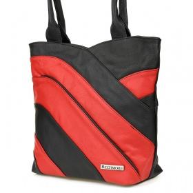 Dámska červená kožená kabelka LINIA
