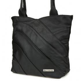 Dámska čierna kožená kabelka LINIA