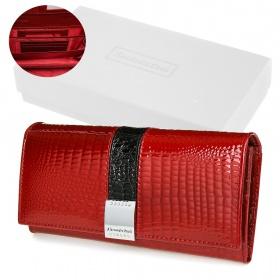 Červená kožená peňaženka Alessandro Paoli