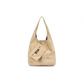 Semišová béžová kožená kabelka NATALY