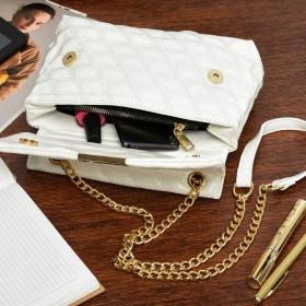 Biela lakovaná kabelka na rameno TOPSTAR