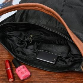 Čierna kožená kabelka PREMIUM