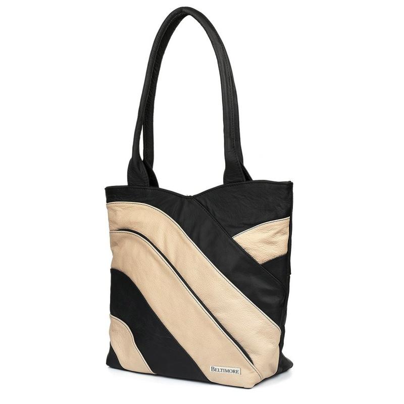 Dámska béžová kožená kabelka LINIA