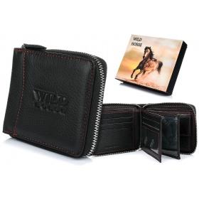 Čierna kožená peňaženka WILD