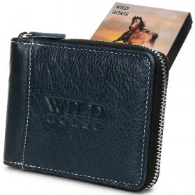 Modrá kožená peňaženka WILD