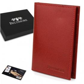 Kožená peňaženka na karty - červená