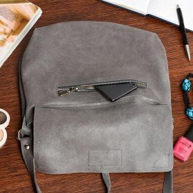 Dvojkomorová kožená šedá kabelka VILEA