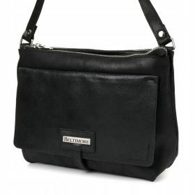 Dvojkomorová kožená čierna kabelka VILEA