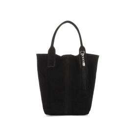 Semišová čierna kabelka BEATRICE