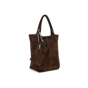 Hnedá semišová kabelka na rameno BEATRICE
