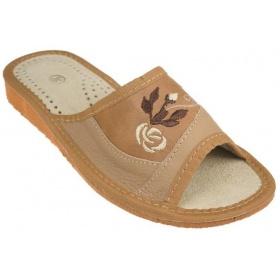 Dámske hnedé kožené papuče